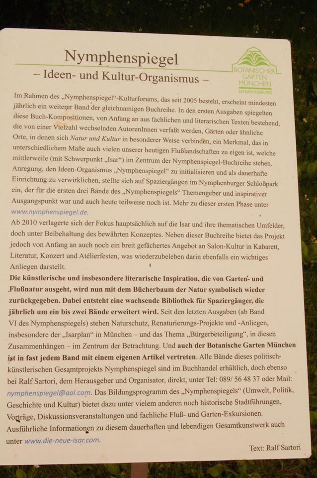 einige Infos zum Nymphenspiegel-Kulturforum im Zuge dessen diese Gruppen stattfinden wie auch manche Fotokunst-Projekte, und der u.a. in Kooperation mit dem Botanischen Garten in München steht